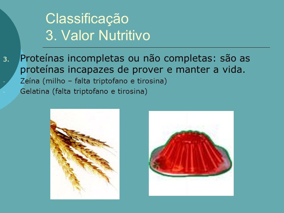 Classificação 3. Valor Nutritivo 3. Proteínas incompletas ou não completas: são as proteínas incapazes de prover e manter a vida. - Zeína (milho – fal