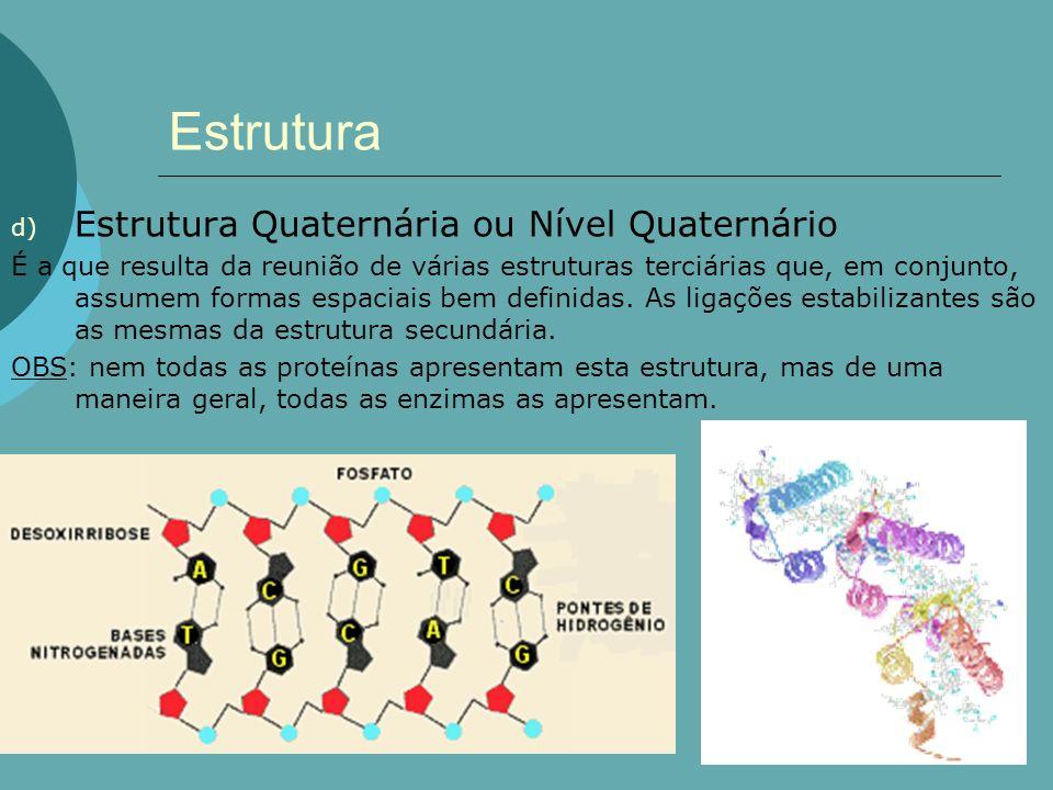 Estrutura d) Estrutura Quaternária ou Nível Quaternário É a que resulta da reunião de várias estruturas terciárias que, em conjunto, assumem formas es