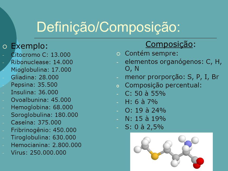 Definição/Composição: Exemplo: - Citocromo C: 13.000 - Ribonuclease: 14.000 - Mioglobulina: 17.000 - Gliadina: 28.000 - Pepsina: 35.500 - Insulina: 36