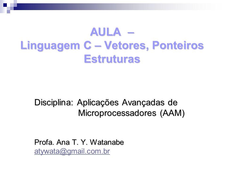 AULA – Linguagem C – Vetores, Ponteiros Estruturas Disciplina: Aplicações Avançadas de Microprocessadores (AAM) Microprocessadores (AAM) Profa. Ana T.