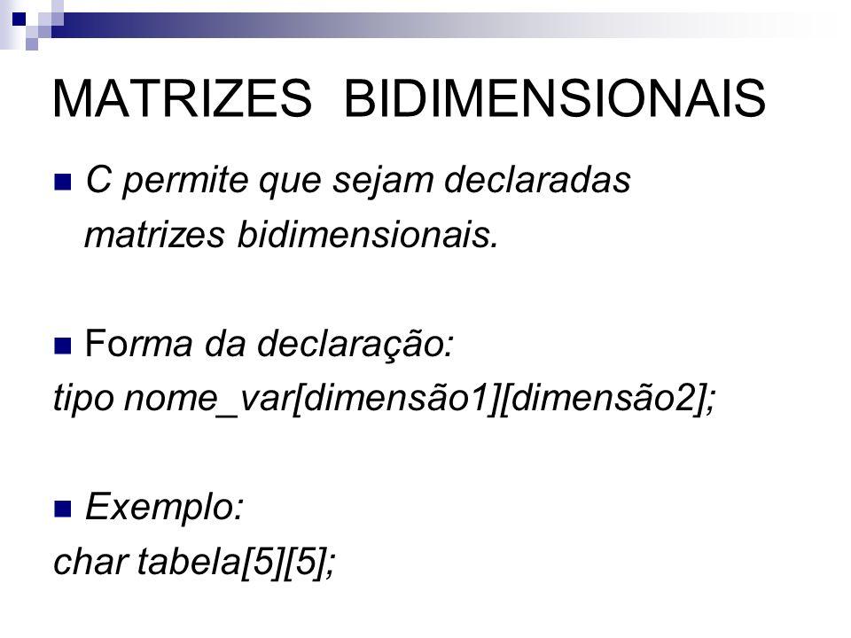 MATRIZES BIDIMENSIONAIS C permite que sejam declaradas matrizes bidimensionais. Forma da declaração: tipo nome_var[dimensão1][dimensão2]; Exemplo: cha