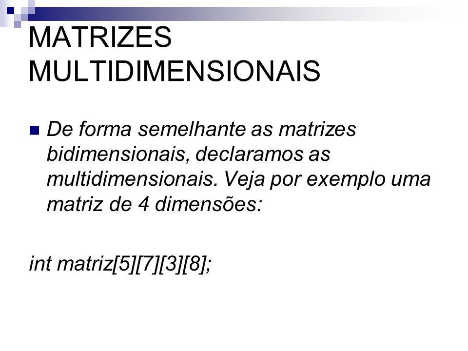 MATRIZES MULTIDIMENSIONAIS De forma semelhante as matrizes bidimensionais, declaramos as multidimensionais. Veja por exemplo uma matriz de 4 dimensões