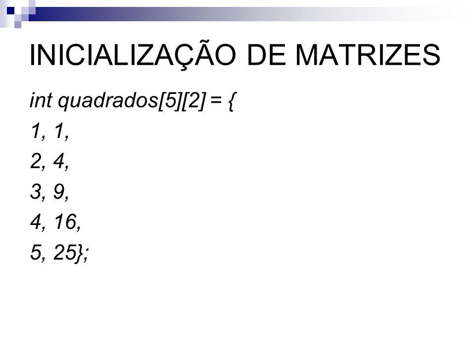 INICIALIZAÇÃO DE MATRIZES int quadrados[5][2] = { 1, 2, 4, 3, 9, 4, 16, 5, 25};