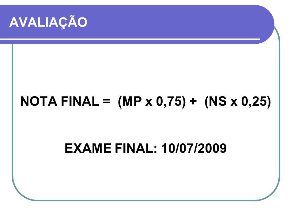 AVALIAÇÃO NOTA FINAL = (MP x 0,75) + (NS x 0,25) EXAME FINAL: 10/07/2009