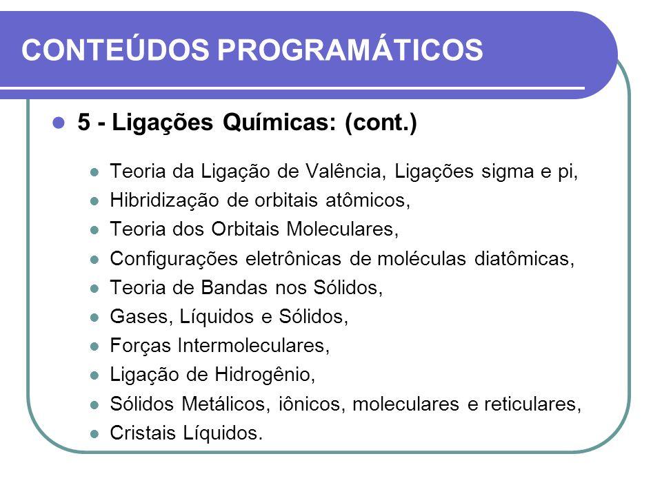 CONTEÚDOS PROGRAMÁTICOS 5 - Ligações Químicas: (cont.) Teoria da Ligação de Valência, Ligações sigma e pi, Hibridização de orbitais atômicos, Teoria d
