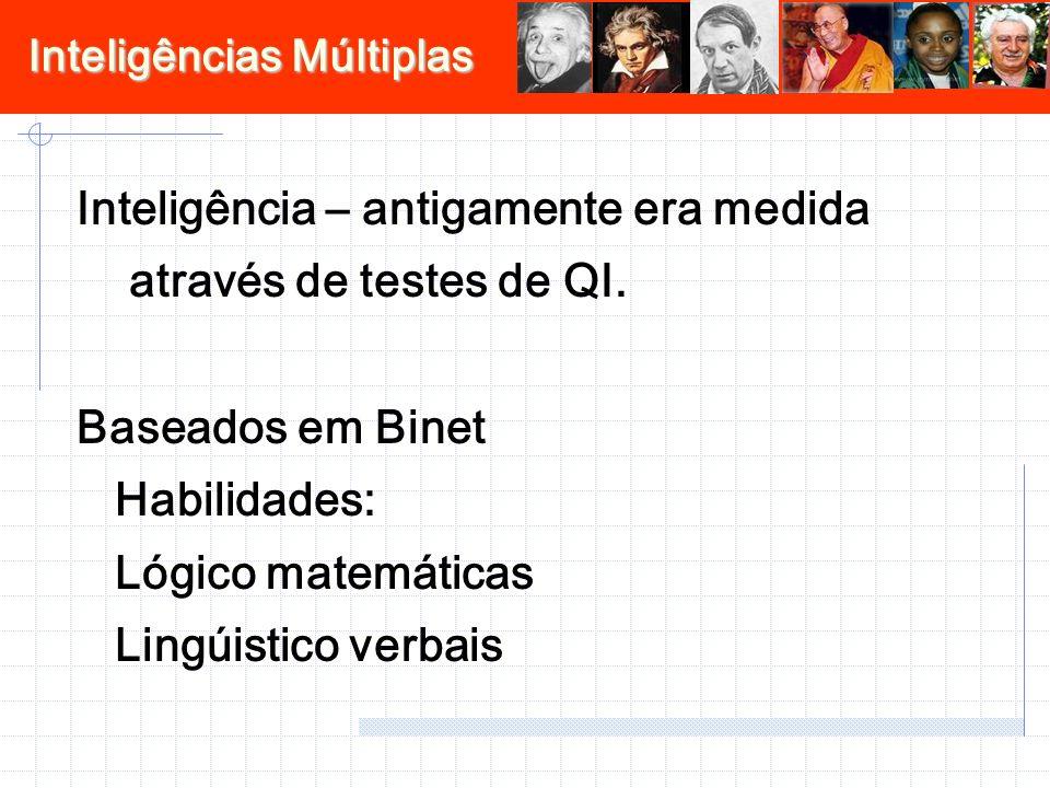 Inteligência – antigamente era medida através de testes de QI. Baseados em Binet Habilidades: Lógico matemáticas Lingúistico verbais