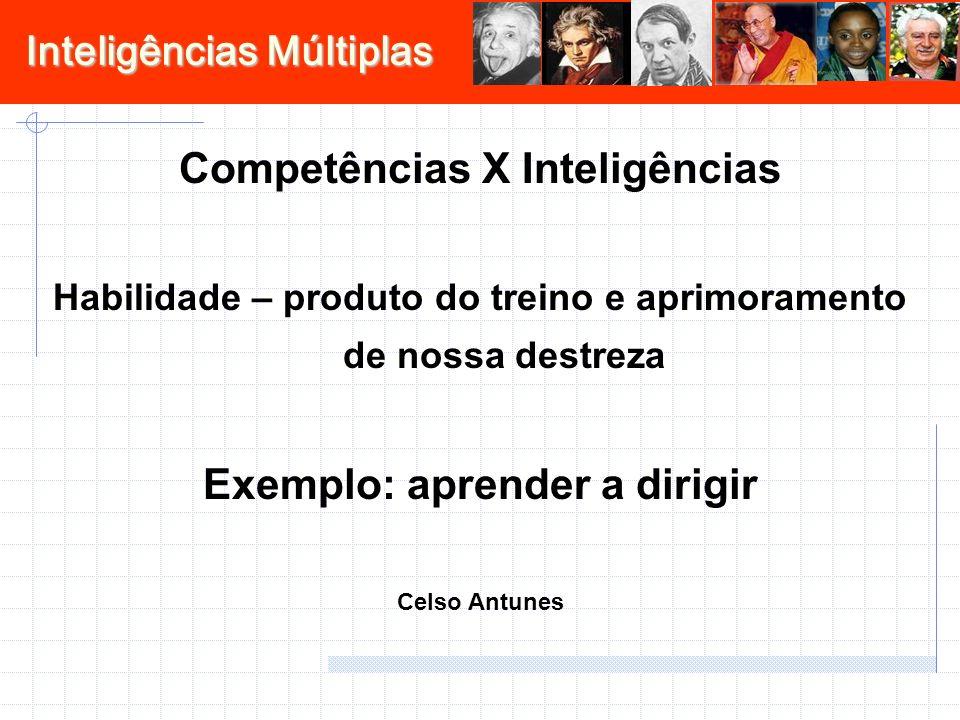 Inteligências Múltiplas Competências X Inteligências Habilidade – produto do treino e aprimoramento de nossa destreza Exemplo: aprender a dirigir Celso Antunes