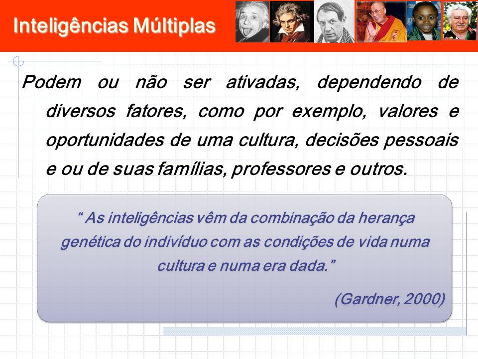 Inteligências Múltiplas Podem ou não ser ativadas, dependendo de diversos fatores, como por exemplo, valores e oportunidades de uma cultura, decisões pessoais e ou de suas famílias, professores e outros.