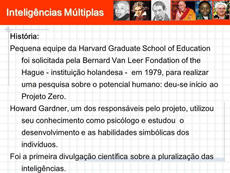 Inteligências Múltiplas História: Pequena equipe da Harvard Graduate School of Education foi solicitada pela Bernard Van Leer Fondation of the Hague - instituição holandesa - em 1979, para realizar uma pesquisa sobre o potencial humano: deu-se início ao Projeto Zero.