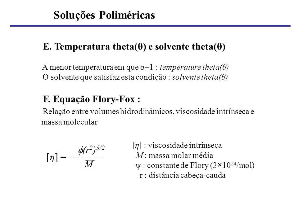E. Temperatura theta(θ) e solvente theta(θ) A menor temperatura em que α=1 : temperature theta(θ) O solvente que satisfaz esta condição : solvente the