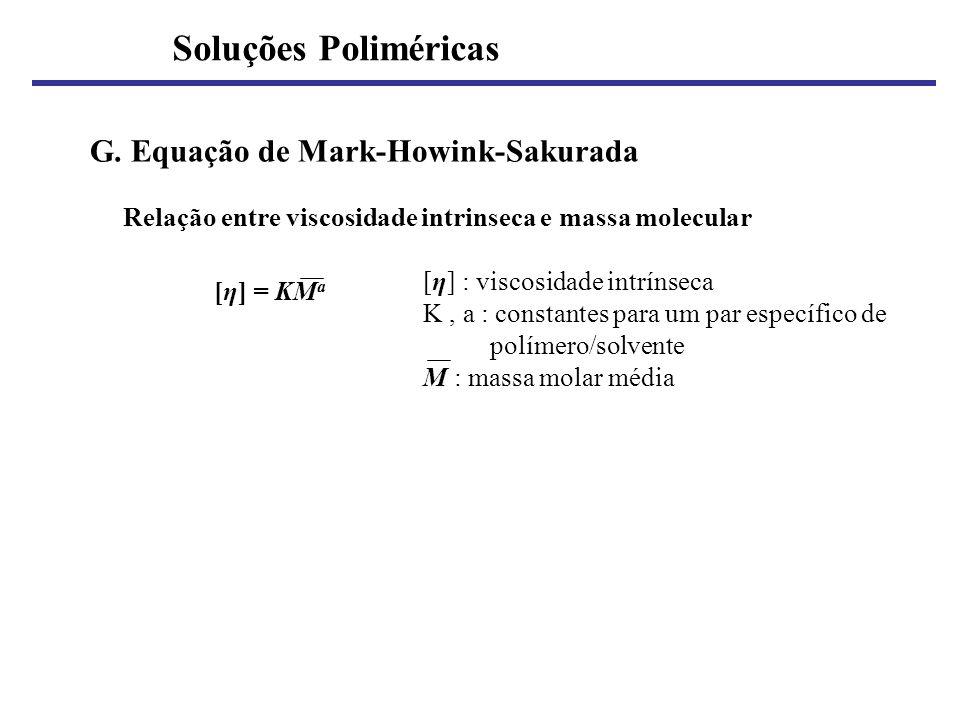 G. Equação de Mark-Howink-Sakurada Relação entre viscosidade intrinseca e massa molecular [η] : viscosidade intrínseca K, a : constantes para um par e