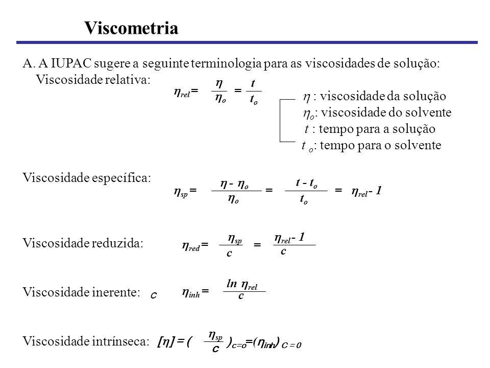 Viscometria A. A IUPAC sugere a seguinte terminologia para as viscosidades de solução: Viscosidade relativa: : viscosidade da solução o : viscosidade