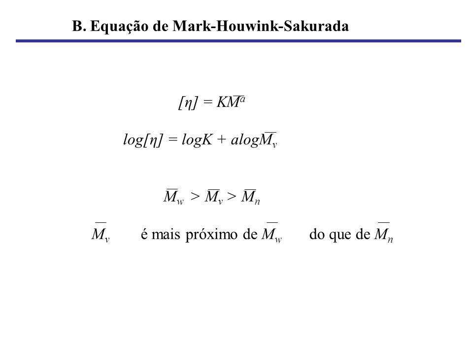 B. Equação de Mark-Houwink-Sakurada [η] = KM a log[η] = logK + alogM v M v é mais próximo de M w do que de M n M w > M v > M n