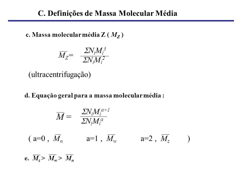 c. Massa molecular média Z ( M Z ) M Z = (ultracentrifugação) d. Equação geral para a massa molecular média : M = ( a=0, M n a=1, M w a=2, M z ) e. M