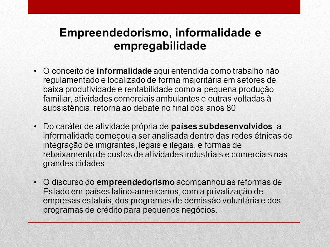 Empreendedorismo, informalidade e empregabilidade O conceito de informalidade aqui entendida como trabalho não regulamentado e localizado de forma maj