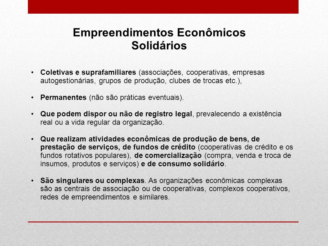 Empreendimentos Econômicos Solidários Coletivas e suprafamiliares (associações, cooperativas, empresas autogestionárias, grupos de produção, clubes de