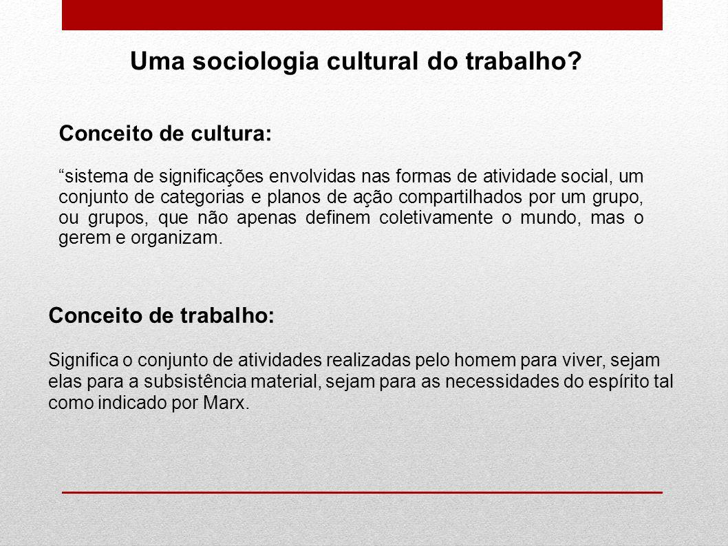 Uma sociologia cultural do trabalho? Conceito de cultura: sistema de significações envolvidas nas formas de atividade social, um conjunto de categoria