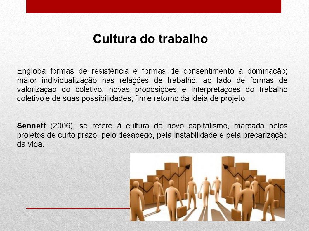 Cultura do trabalho Engloba formas de resistência e formas de consentimento à dominação; maior individualização nas relações de trabalho, ao lado de f