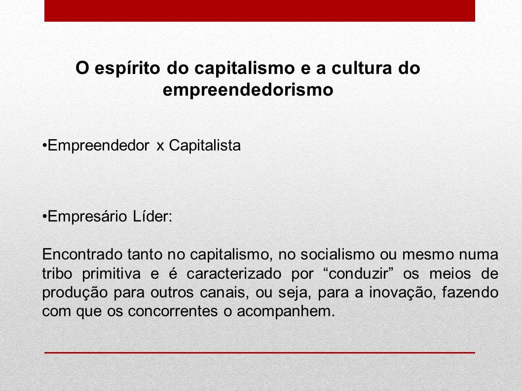 O espírito do capitalismo e a cultura do empreendedorismo Empreendedor x Capitalista Empresário Líder: Encontrado tanto no capitalismo, no socialismo