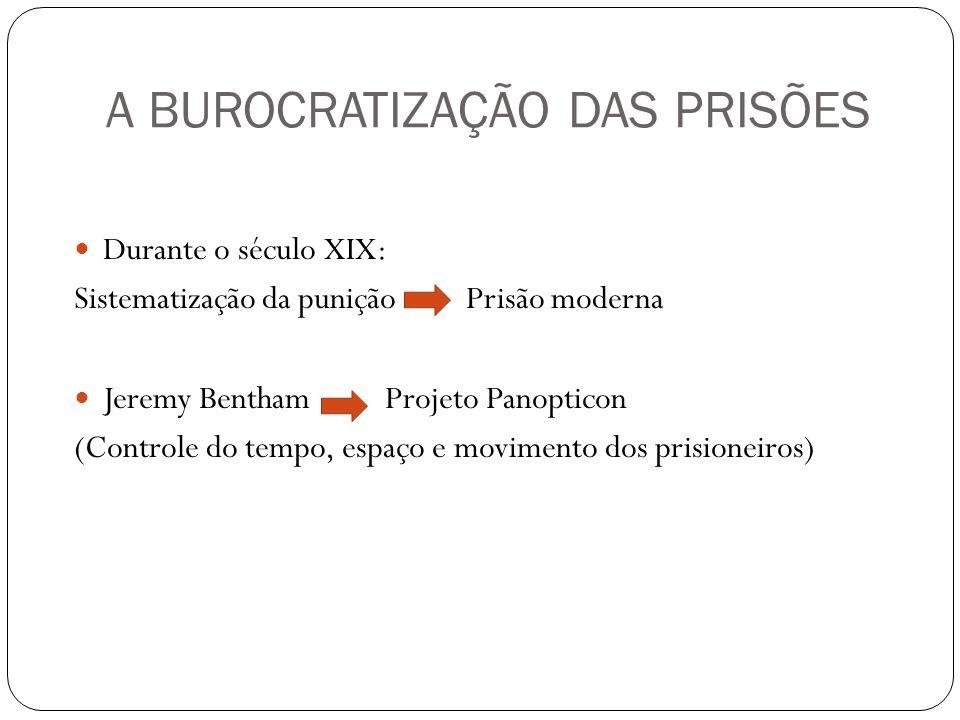 A BUROCRATIZAÇÃO DAS PRISÕES Durante o século XIX: Sistematização da punição Prisão moderna Jeremy Bentham Projeto Panopticon (Controle do tempo, espa