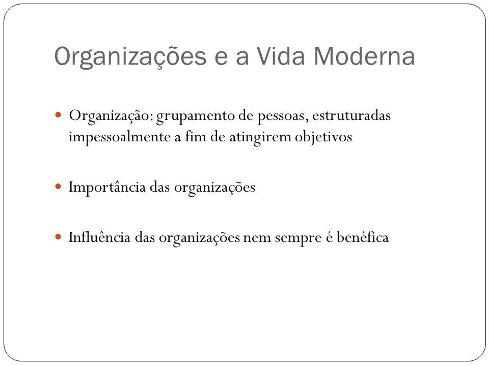 Organizações e a Vida Moderna Organização: grupamento de pessoas, estruturadas impessoalmente a fim de atingirem objetivos Importância das organizaçõe
