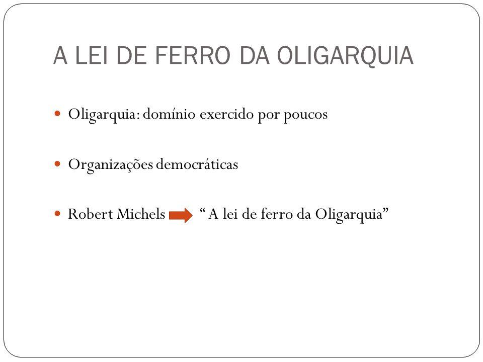A LEI DE FERRO DA OLIGARQUIA Oligarquia: domínio exercido por poucos Organizações democráticas Robert Michels A lei de ferro da Oligarquia