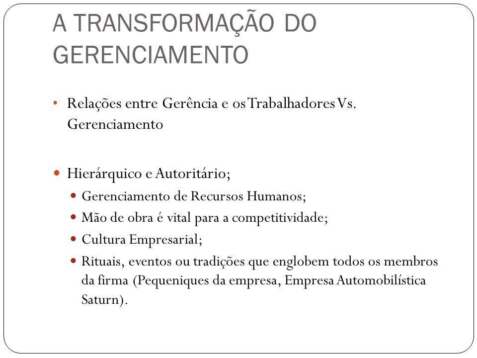 A TRANSFORMAÇÃO DO GERENCIAMENTO Relações entre Gerência e os Trabalhadores Vs. Gerenciamento Hierárquico e Autoritário; Gerenciamento de Recursos Hum