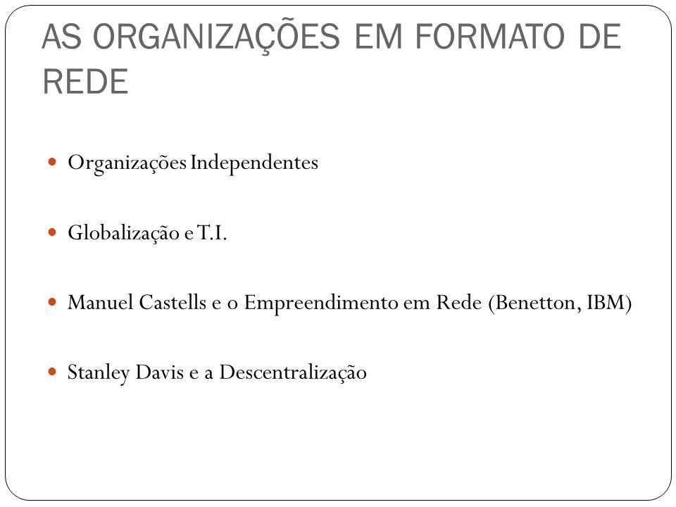 AS ORGANIZAÇÕES EM FORMATO DE REDE Organizações Independentes Globalização e T.I. Manuel Castells e o Empreendimento em Rede (Benetton, IBM) Stanley D
