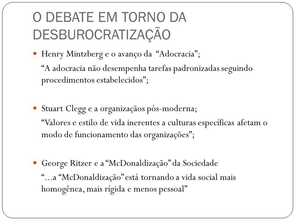 O DEBATE EM TORNO DA DESBUROCRATIZAÇÃO Henry Mintzberg e o avanço da Adocracia; A adocracia não desempenha tarefas padronizadas seguindo procedimentos