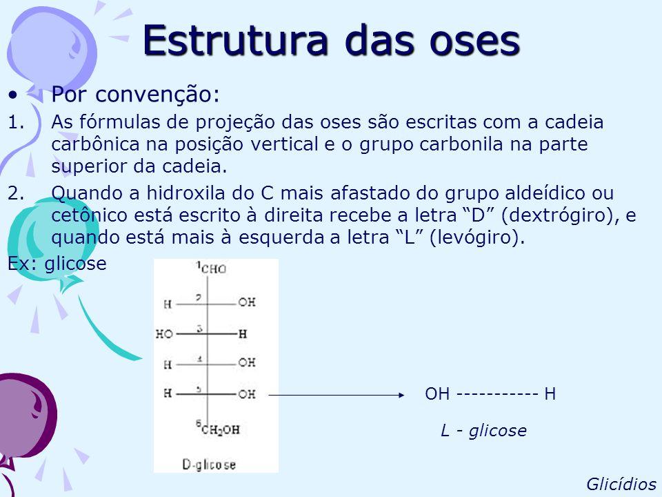 Estrutura das oses Por convenção: 1.As fórmulas de projeção das oses são escritas com a cadeia carbônica na posição vertical e o grupo carbonila na pa