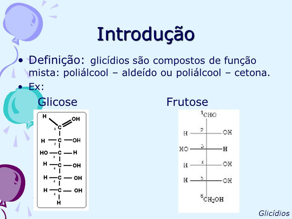 Introdução Definição: glicídios são compostos de função mista: poliálcool – aldeído ou poliálcool – cetona. Ex: Glicose Frutose Glicídios