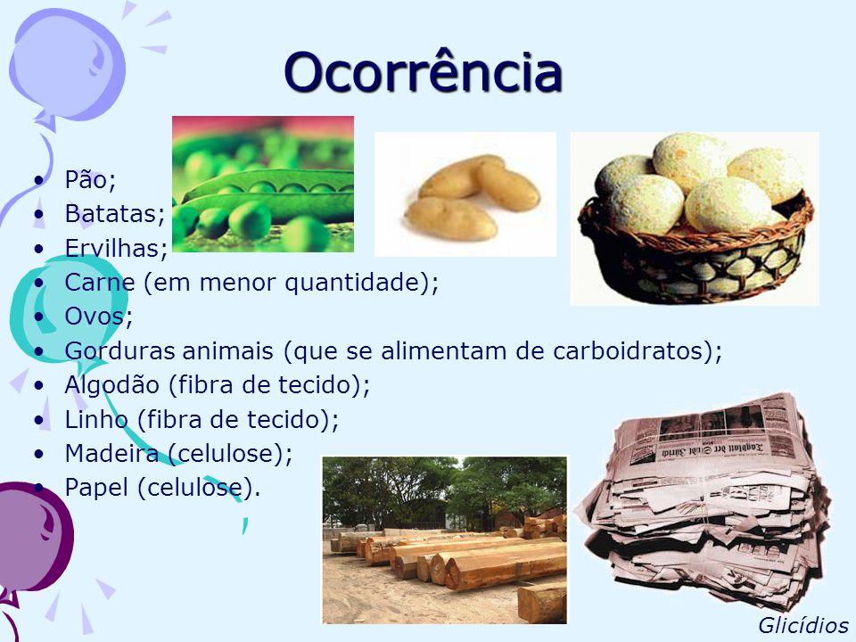 Ocorrência Pão; Batatas; Ervilhas; Carne (em menor quantidade); Ovos; Gorduras animais (que se alimentam de carboidratos); Algodão (fibra de tecido);