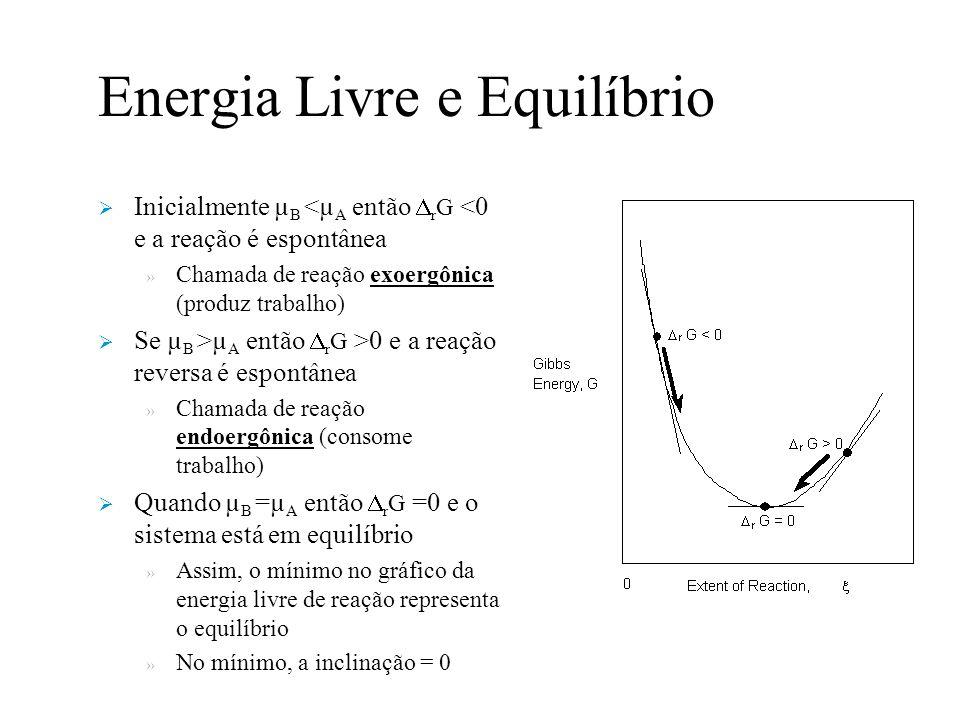 Energia Livre e Equilíbrio Inicialmente µ B <µ A então r G <0 e a reação é espontânea » Chamada de reação exoergônica (produz trabalho) Se µ B >µ A então r G >0 e a reação reversa é espontânea » Chamada de reação endoergônica (consome trabalho) Quando µ B =µ A então r G =0 e o sistema está em equilíbrio » Assim, o mínimo no gráfico da energia livre de reação representa o equilíbrio » No mínimo, a inclinação = 0