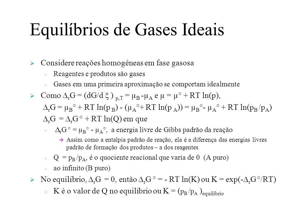 Equilíbrios de Gases Ideais Considere reações homogêneas em fase gasosa » Reagentes e produtos são gases » Gases em uma primeira aproximação se comportam idealmente Como r G = (dG/d ) p,T = µ B -µ A e µ = µ° + RT ln(p), r G = µ B ° + RT ln(p B ) - (µ A °+ RT ln(p A )) = µ B °- µ A ° + RT ln(p B /p A ) r G = r G ° + RT ln(Q) em que » r G ° = µ B ° - µ A °, a energia livre de Gibbs padrão da reação Assim como a entalpia padrão de reação, ela é a diferença das energias livres padrão de formação dos produtos – a dos reagentes » Q = p B /p A, é o quociente reacional que varia de 0 (A puro) » ao infinito (B puro) No equilíbrio, r G = 0, então r G ° = - RT ln(K) ou K = exp(- r G °/RT) » K é o valor de Q no equilíbrio ou K = ( p B /p A ) equilíbrio
