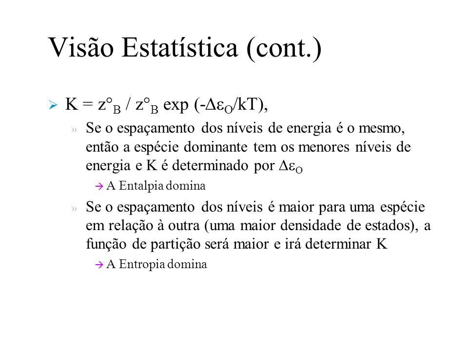 Visão Estatística (cont.) K = z° B / z° B exp (- O /kT), » Se o espaçamento dos níveis de energia é o mesmo, então a espécie dominante tem os menores níveis de energia e K é determinado por O A Entalpia domina » Se o espaçamento dos níveis é maior para uma espécie em relação à outra (uma maior densidade de estados), a função de partição será maior e irá determinar K A Entropia domina