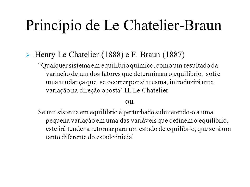 Princípio de Le Chatelier-Braun Henry Le Chatelier (1888) e F.