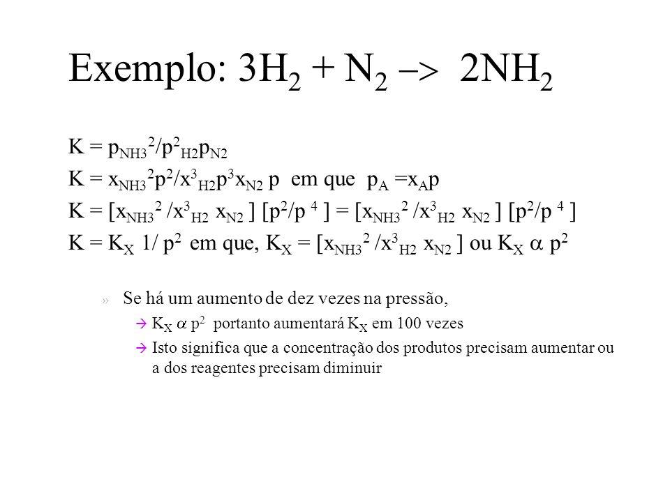 Exemplo: 3H 2 + N 2 2NH 2 K = p NH3 2 /p 2 H2 p N2 K = x NH3 2 p 2 /x 3 H2 p 3 x N2 p em que p A =x A p K = [x NH3 2 /x 3 H2 x N2 ] [p 2 /p 4 ] = [x NH3 2 /x 3 H2 x N2 ] [p 2 /p 4 ] K = K X 1/ p 2 em que, K X = [x NH3 2 /x 3 H2 x N2 ] ou K X p 2 » Se há um aumento de dez vezes na pressão, K X p 2 portanto aumentará K X em 100 vezes Isto significa que a concentração dos produtos precisam aumentar ou a dos reagentes precisam diminuir