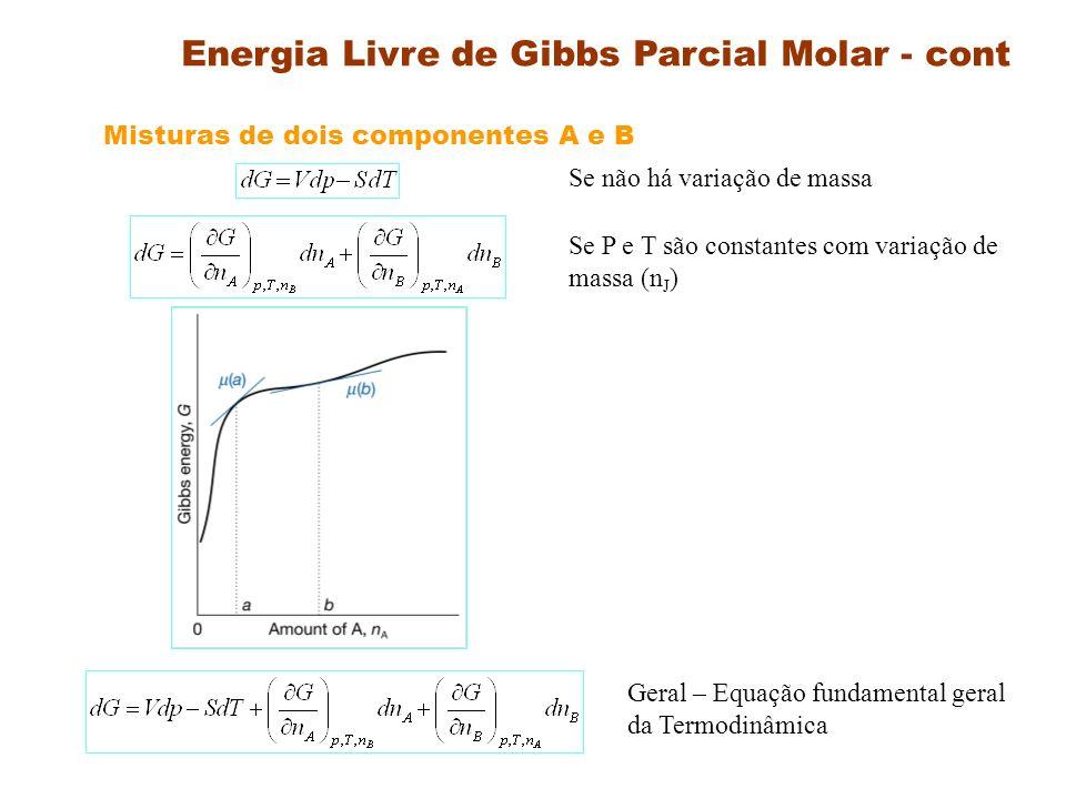 Energia Livre de Gibbs Parcial Molar - cont Definição : O potencial químico mostra como as grandezas termodinâmicas extensivas A, H, U e G dependem da composição Se P e T = Constante Função de estado Equação de Gibbs-Duhem ?