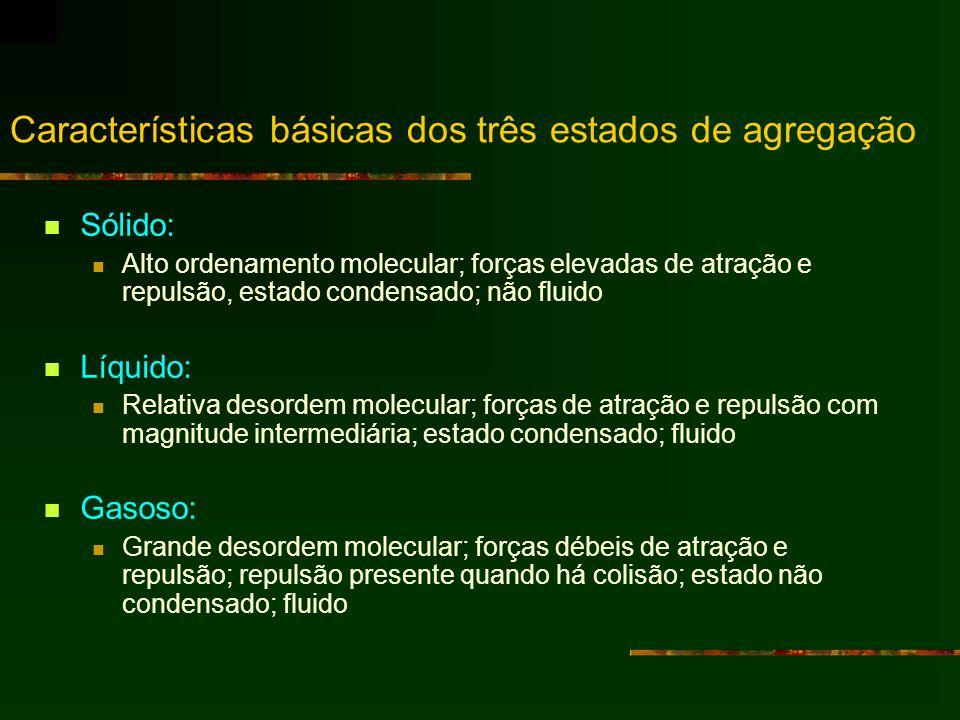 Características básicas dos três estados de agregação Sólido: Alto ordenamento molecular; forças elevadas de atração e repulsão, estado condensado; nã