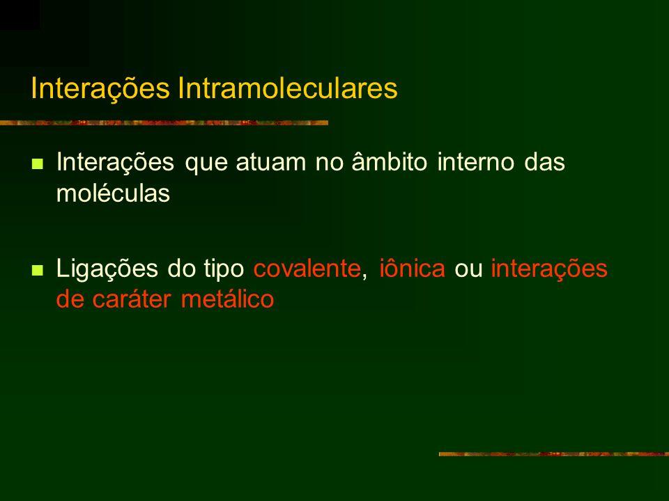 Interações Intramoleculares Interações que atuam no âmbito interno das moléculas Ligações do tipo covalente, iônica ou interações de caráter metálico