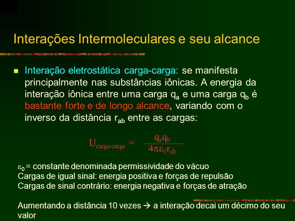 Interação eletrostática carga-carga: se manifesta principalmente nas substâncias iônicas. A energia da interação iônica entre uma carga q a e uma carg