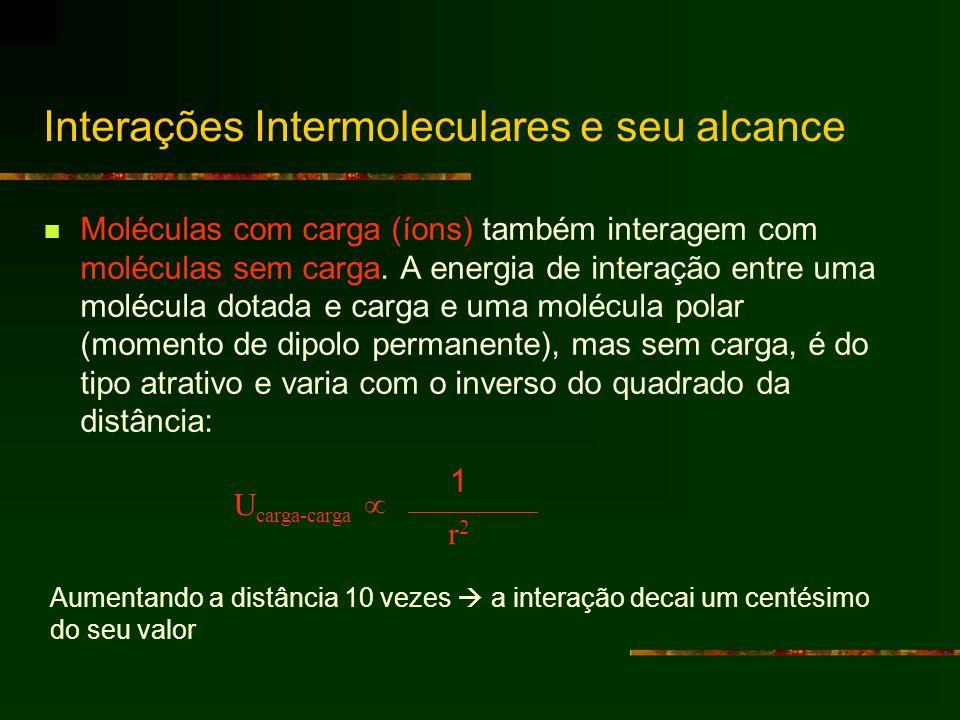 Moléculas com carga (íons) também interagem com moléculas sem carga. A energia de interação entre uma molécula dotada e carga e uma molécula polar (mo