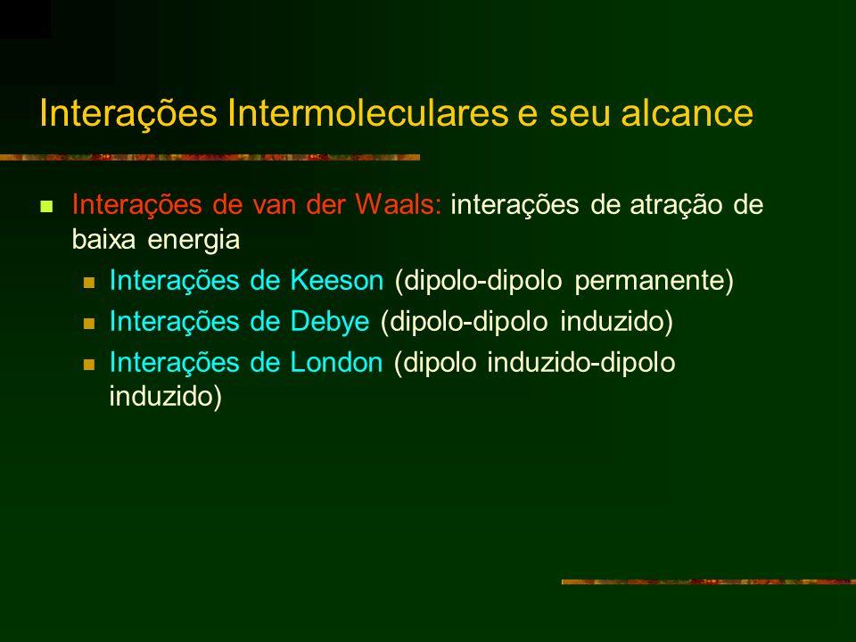 Interações de van der Waals: interações de atração de baixa energia Interações de Keeson (dipolo-dipolo permanente) Interações de Debye (dipolo-dipolo
