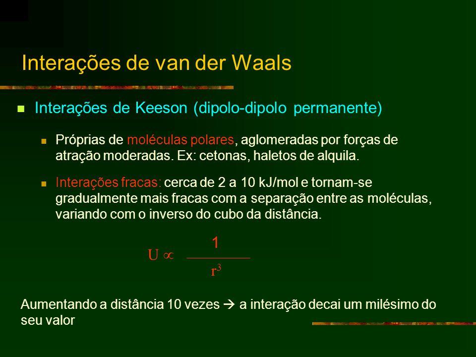 Interações de Keeson (dipolo-dipolo permanente) Próprias de moléculas polares, aglomeradas por forças de atração moderadas. Ex: cetonas, haletos de al