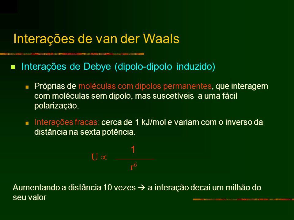 Interações de Debye (dipolo-dipolo induzido) Próprias de moléculas com dipolos permanentes, que interagem com moléculas sem dipolo, mas suscetíveis a
