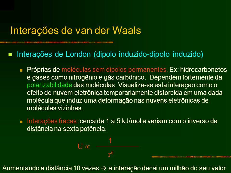 Interações de London (dipolo induzido-dipolo induzido) Próprias de moléculas sem dipolos permanentes. Ex: hidrocarbonetos e gases como nitrogênio e gá