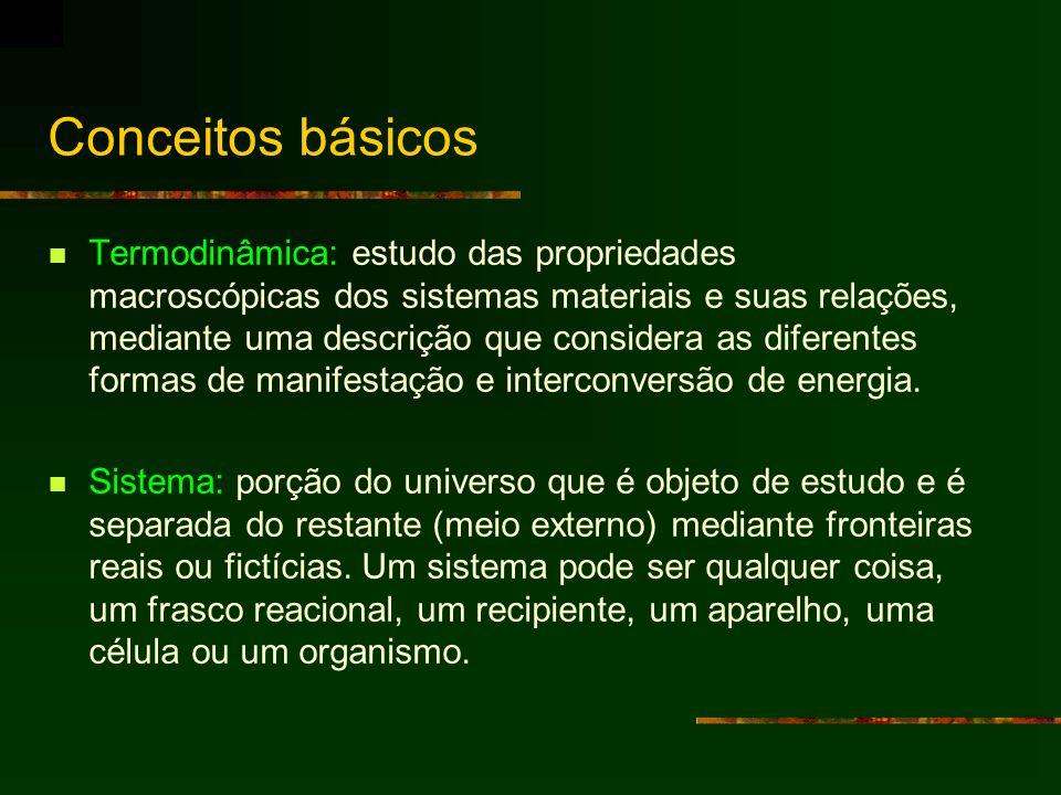 Conceitos básicos Termodinâmica: estudo das propriedades macroscópicas dos sistemas materiais e suas relações, mediante uma descrição que considera as