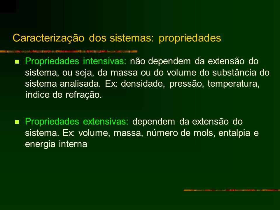 Caracterização dos sistemas: propriedades Propriedades intensivas: não dependem da extensão do sistema, ou seja, da massa ou do volume do substância d