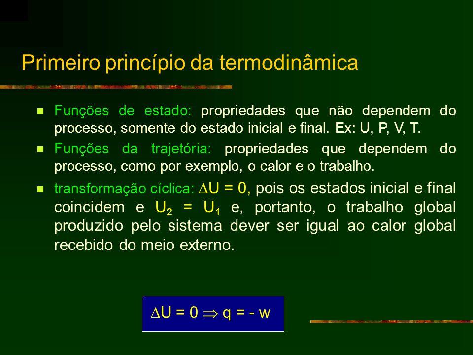 Primeiro princípio da termodinâmica Funções de estado: propriedades que não dependem do processo, somente do estado inicial e final. Ex: U, P, V, T. F