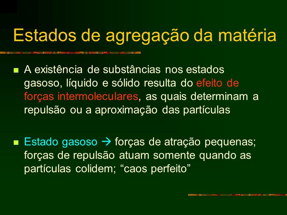 Estados de agregação da matéria A existência de substâncias nos estados gasoso, líquido e sólido resulta do efeito de forças intermoleculares, as quai